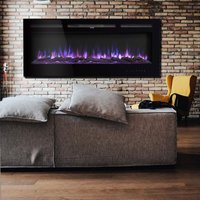 60 Inch LED Electric Fireplace Wall Mounted Wall Insert Heater 9 Flame Colours
