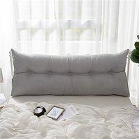 """60"""" Triangular Wedge Lumbar Pillow Support Cushion Backrest Bolster Soft Headboard (Grey 150cm)"""