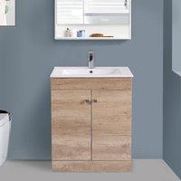 600mm 2 Door Oak Effect Wash Basin Cabinet Vanity Sink Unit Bathroom Furniture
