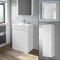 Artis - 600mm Basin Vanity Unit Mirror Cabinet Tall Cupboard Bathroom Bundle