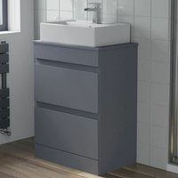 600mm Bathroom Floor Standing Vanity Unit Countertop Basin Gloss Grey