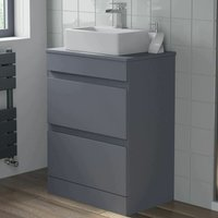 600mm Bathroom Vanity Unit Countertop Basin Floor Standing Gloss Grey - ARTIS