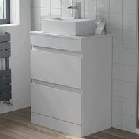 600mm Bathroom Vanity Unit Countertop Rectangular Basin Floor Standing White