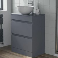 600mm Bathroom Vanity Unit Countertop Round Basin Floor Standing Gloss Grey