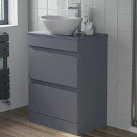 600mm Bathroom Vanity Unit Floor Standing Countertop Oval Basin Gloss Grey