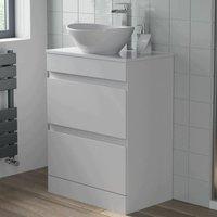 600mm Bathroom Vanity Unit Floor Standing Countertop Oval Basin Gloss White