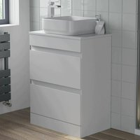 600mm Bathroom Vanity Unit Floor Standing Countertop Square Basin Gloss White