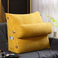 60cm 23 and quot; Four Seasons Universal Triangular Lumbar Support Cushion Support Cushion Bolster Backrest Soft Headboard (Yellow)