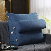 60cm 23 and quot; Four Seasons Universal Triangular Lumbar Wedge Cushion Support Cushion Back Bolster Soft Headboard For Bed Office Chair Sofas