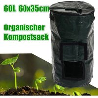 60L Covered Organic Compost Waste Converter Trash Cans Compost Storage Garden Supply