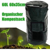 60L Covered Organic Compost Waste Converter Trash Cans Compost Storage Garden Supply Hasaki