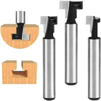 Langray - 6.35mm T-Slot Cutter, T-Slot Router Shape Router Bits, 3Pcs (7.93 / 9.52 / 12.7mm) Cutter Shank with Blade Wood Cutters For Power Tools