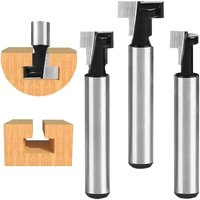 SOEKAVIA 6.35mm T-Slot Cutter, T-Slot Router Shape Router Bits, 3Pcs (7.93 / 9.52 / 12.7mm) Cutter Shank with Blade Wood Cutters For Power Tools