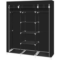 69 Portable Clothes Closet Non-Woven Fabric Wardrobe Double Rod Storage Organizer Black WQ503BK - HOMMOO