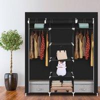 69 Portable Clothes Closet Non-Woven Fabric Wardrobe Double Rod Storage Organizer-Black - TALKEACH