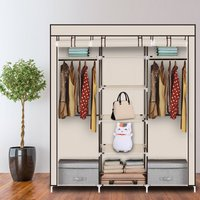 69 Portable Clothes Closet Non-Woven Fabric Wardrobe Double Rod Storage Organizer-Beige