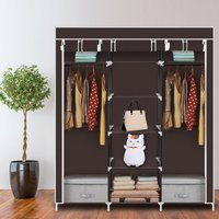 69 Portable Clothes Closet Non-Woven Fabric Wardrobe Double Rod Storage Organizer-Brown - TALKEACH