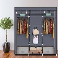69 Portable Clothes Closet Non-Woven Fabric Wardrobe Double Rod Storage Organizer-Grey