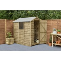6ft x 4ft Pressure Treated Overlap Apex Wooden Garden Shed With 1 Window (1.8m x 1.3m) - Modular (CORE) - WORCESTER PRESSURE TREATED OVERLAP