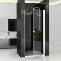 760 x 1850 mm Shower Enclosure MIQU ZBP Cubicle Pivot Hinge Shower Door 6mm Easy Clean Nano Glass Panel Wet Room - No Tray