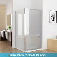 800 x 800 mm PAP Pivot Shower Enclosure Door 6mm Safety Nano Glass Shower Cubicle with 800 mm Side Panel - No Tray