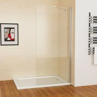 800 x 1830 mm MIQU SB Easy Clean Glass 6mm Screen Panel Frameless Walk in Shower Enclosure Wetroom - No Tray