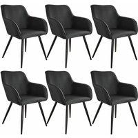 6x Accent Chair Marylin - black - TECTAKE