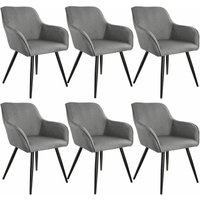 6x Accent Chair Marylin - light grey/black - TECTAKE