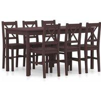 7 Piece Dining Set Pinewood Dark Brown - Brown - Vidaxl