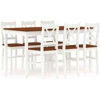 7 Piece Dining Set Pinewood White and Brown - White - Vidaxl