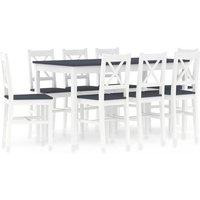 Vidaxl - 9 Piece Dining Set Pinewood White and Grey