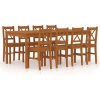 vidaXL 9 Piece Dining Set Pinewood Honey Brown - Brown