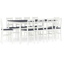 11 Piece Dining Set Pinewood White and Grey - VIDAXL