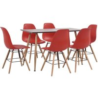 7 Piece Dining Set Plastic Red - Red
