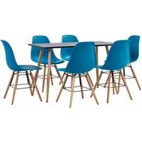 Zqyrlar - 7 Piece Dining Set Plastic Turquoise - Turquoise