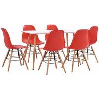 Dining Set Plastic 7 Piece Red - Red - Vidaxl