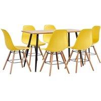 7 Piece Dining Set Plastic Yellow