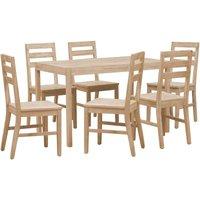 7 Piece Dining Set Solid Acacia Wood - Brown - Vidaxl