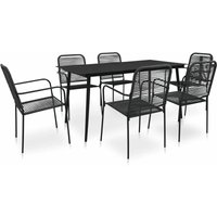 7 Piece Outdoor Dining Set Cotton Rope and Steel Black - Black