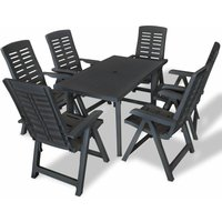 Youthup - 7 Piece Outdoor Dining Set Plastic Anthracite