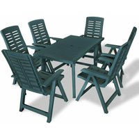 Youthup - 7 Piece Outdoor Dining Set Plastic Green