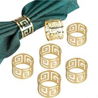 7 Pieces Napkin Rings Napkin Holder Banquet Napkin Ring Dinner Wedding Christmas Decoration Table Decoration (Gold)