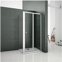 AICA 700mm Bifold Door Shower Enclosure Clear Glass Folding Door Cubicle with 700mm Side Panel include 700x700mm Tray Free Waste
