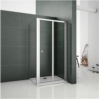 1000mm Bifold Door Shower Enclosure Clear Glass Folding Door Cubicle with 700mm Side Panel include 1000x700mm Tray Free Waste - Aica