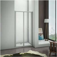 900x1850 Eletro off white( not pure white/ not chrome) frame Bifold Door Shower Enclosure Clear Glass Folding Door Cubicle with 900x760mm Shower Tray