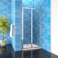 1000mm Bathroom Bi Fold Shower Door Enclosure Glass Screen + 1000x760mm Tray Waste