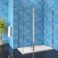 760x760x1900mm Walk in Shower Enclosure Wet Room Two EasyClean Glass with Flipper Panel + 1100x800mm Shower Tray Free Waste