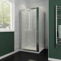 700 x 700 mm Pivot Hinge Shower Enclosure 6mm Safety Glass Shower Screen Reversible Cubicle Door with Side Panel Set - ELEGANT