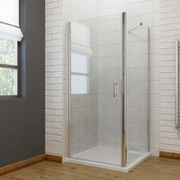 700 x 700mm Frameless Pivot Shower Enclosure 6mm Safety Glass Reversible Shower Cubicle Door + Side Panel - ELEGANT