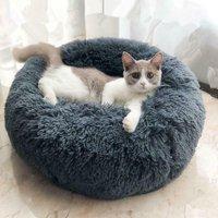 70cm Sleeping Basket Dog Cat Basket Round Cushion Winter Warm Plush Animal Bed Dark Gray - PIMPIMSKY